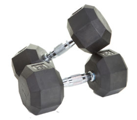 Troy Barbell 65Lb 8­Sided Rubber Encased Dumbbell w/Chrome Steel Contoured Handle